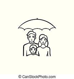 croquis, famille, main, dessiné, icon., assurance
