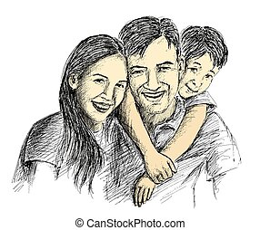 croquis, famille, main, parents, children., heureux