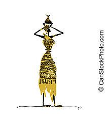croquis, femme, cruche, main, ethnique, dessiné
