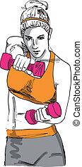 croquis, femme, fonctionnement, gymnase, illustration, vecteur, haltère, dehors, weights.