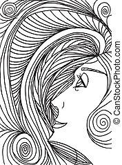 croquis, femme, illustration., résumé, vecteur, face.