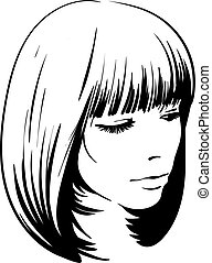 Beau Croquis Femme Illustration Hair Triste Grafic