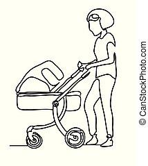 croquis, femme, maman, gens, drawing., walk., continu, une, ligne., park., picture., main, bébé, dessiné, ligne, enfantqui commence à marcher, poussette, art.