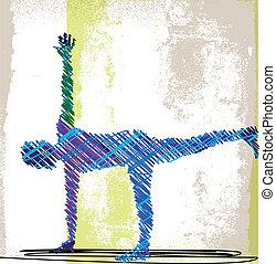 croquis, femme, résumé, yoga., méditer, illustration, ...