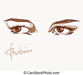 croquis, femme, style, illustration, mode, eyes.