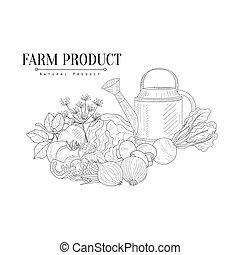 croquis, ferme, arrosage, main, réaliste, nourriture, frais, dessiné, boîte