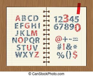 croquis, feuille, symboles, conception, lettres, ton