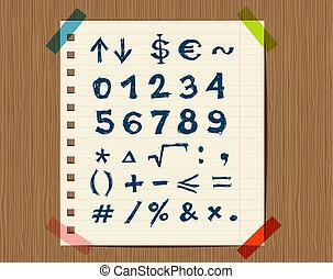 croquis, feuille, symboles, conception, ton, math