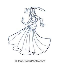 croquis, figure, drawing., danseur, ventre, ligne, geste