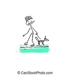 croquis, figure, griffonnage, chien marche, crosse, humain, dessin, homme