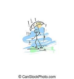 croquis, figure, griffonnage, marche, pluie, crosse, humain