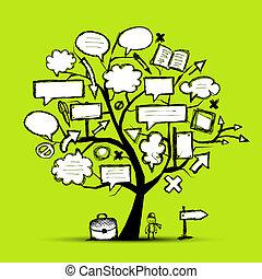 croquis, flèches, arbre, conception, cadres, ton