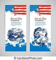 croquis, flag., arrière-plans, main, américain, 4ème, conception, dessiné, bannières, juillet, jour, indépendance