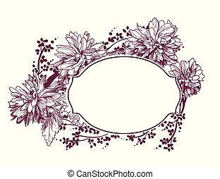 croquis, fleur, cadre, chrysanthème, victorien, vecteur, fond