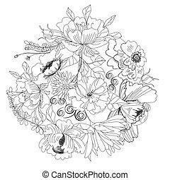 croquis, fleurs