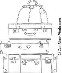 croquis, fond, isolé, blanc, valises