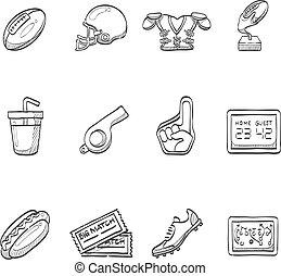 croquis, football, -, icônes américaines
