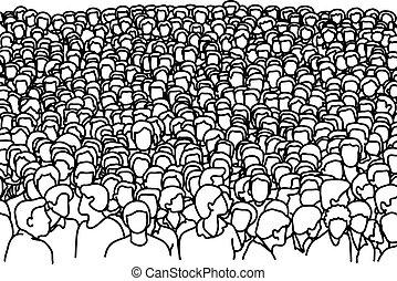 croquis, foule, gens, griffonnage, lignes, isolé, illustration, main, vecteur, arrière-plan noir, dessiné, blanc
