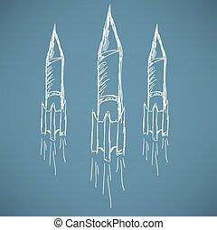 croquis, fusée, dessin animé, essor, icon., bateau
