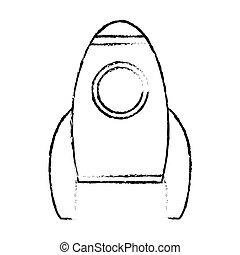 croquis, fusée espace, transport, véhicule