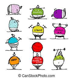 croquis, gens, graisse, sports, conception, ton