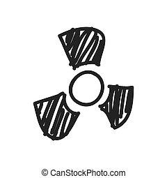 croquis, graphique, science, biohazard, vecteur, icon., design.