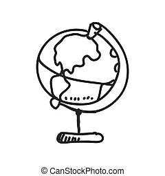 croquis, graphique, science, planète, vecteur, icon., design.