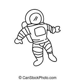 croquis, graphique, science, vecteur, astronaute, icon., design.
