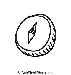 croquis, graphique, science, vecteur, compas, icon., design.