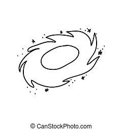croquis, graphique, science, vecteur, icon., galaxie, design.