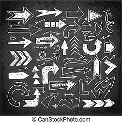 croquis, griffonnage, craies, flèches, main, fond, tableau noir, dessiné, blanc