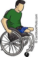 croquis, griffonnage, fauteuil roulant, lignes, isolé, ...
