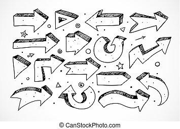 croquis, griffonnage, flèches, isolé, arrière-plan noir, blanc