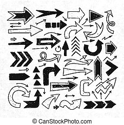 croquis, griffonnage, flèches, papier, fond, riz
