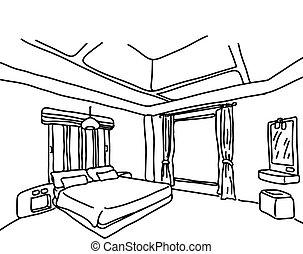 croquis, griffonnage, lignes, isolé, illustration, main, vecteur, arrière-plan noir, chambre à coucher, dessiné, blanc