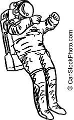 croquis, griffonnage, lignes, isolé, illustration, main, vecteur, astronaute, fond, dessiné, blanc, noir
