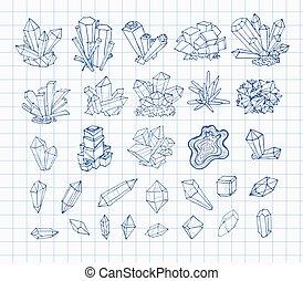 croquis, griffonnage, paper., collection, stylo, vecteur, crystals., illustration, revêtu, minéraux