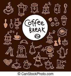 croquis, griffonnage, set., café, main, vecteur, dessiné,...