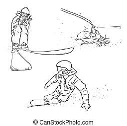 croquis, griffonnage, snowboarding, ski, hélicoptère