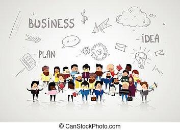 croquis, groupe, professionnels, sur, businesspeople, dessin animé, mélange, course, fond, résumé