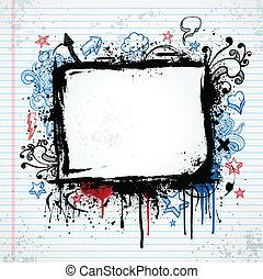 croquis, grunge, cadre, illustration