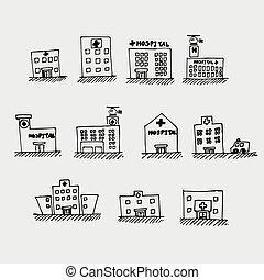 croquis, hôpital, icône
