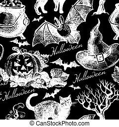 croquis, halloween, pattern., seamless, main, vecteur, dessiné