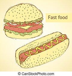 croquis, hamburger, vendange, style, chien, chaud