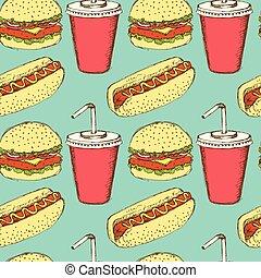 croquis, hamburger, vendange, style, soude, hot-dog