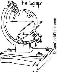 croquis, heliograph, -, isolé, illustration, main, lignes, vecteur, arrière-plan noir, dessiné, blanc