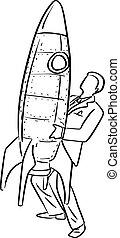 croquis, homme affaires, business, fusée, grand, concept., lignes, isolé, illustration, main, arrière-plan., démarrage, vecteur, noir, tenue, griffonnage, dessiné, blanc