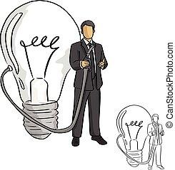 croquis, homme affaires, business, griffonnage, concept., lignes, isolé, illustration, idée, arrière-plan., vecteur, noir, tenue, grand, dessiné, blanc, main, lance, ampoule
