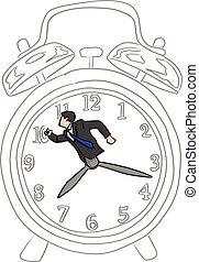 croquis, homme affaires, business, horloge, griffonnage, concept., temps, lignes, isolé, illustration, main, arrière-plan., vecteur, noir, retro, grand, dessiné, blanc, hâte, reveil