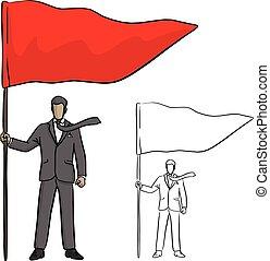 croquis, homme affaires, business, reussite, grand, concept., lignes, isolé, illustration, main, arrière-plan., drapeau, vecteur, noir, tenue, griffonnage, dessiné, blanc rouge